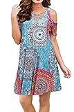 Bluetime Women Summer Cold Shoulder Beach Dresses Criss Cross Neckline Short Sleeve Casual T-Shirt Dresses (XXL, Floral6)