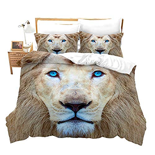 BCDJYFL 3D Microfiber Duvet Cover Set Lion Printed Bedding Quilt Cover With Zipper Closure For Bedding Decro, Ultra Soft Microfiber.180X220Cm(No Comforter)