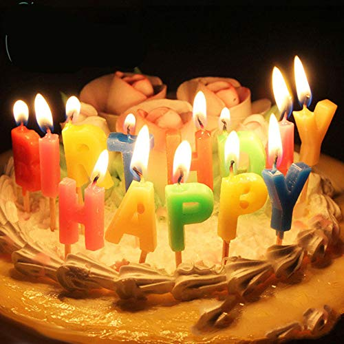 BJ-SHOP Candela di Compleanno Candele di Buon Compleanno Candele Colorate Lettera di Buon Compleanno