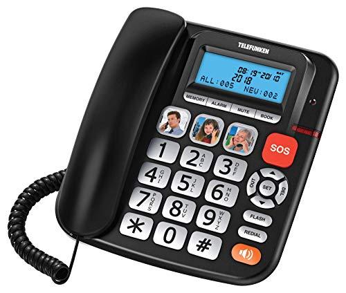 Telefunken TF801 COSI Schnurgebundenes Telefon Solo mit Display für Sensor, Schwarz
