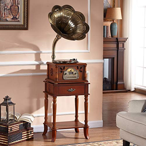 Why Should You Buy GOM Record Player Console Cabinet with Built-in Stereo Speakers 33/45/78 RPM 3-Sp...