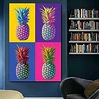 カラフルなパイナップルポスター有名なアートワークキャンバス絵画壁アート写真リビングルームダイニングルーム装飾60x90cmフレームレス