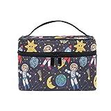 Ahomy - Bolsa de maquillaje para astronauta de sol y luna, grande, organizador de cosméticos, estuche de almacenamiento grande con asa para niñas y mujeres