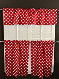 lovemyfabric Poly Cotton Fun with Polka Dots/Spots Print 3-Piece Kitchen Curtain Valance Window Treatment Set (White on Red)