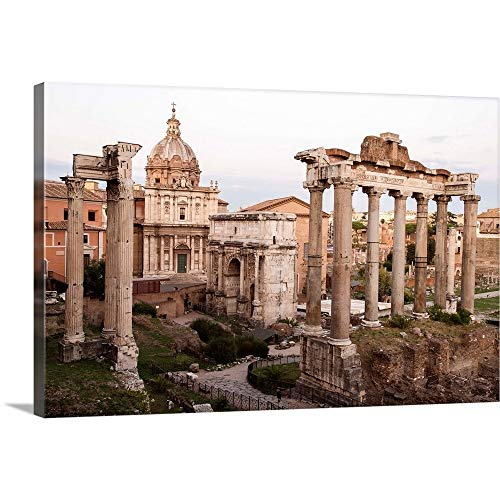 "Roman Forum, Rome, Italy, Europe Canvas Wall Art Print, 36""x24""x1.25"""