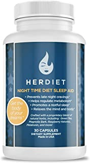 Her Diet Night Time Diet Sleep Aid — Weight Loss Pills and Metabolism Booster - Reduce Cravings – PM Fat Burner – Non Habit Forming – 5 MG Melatonin – Green Tea – Magnolia Bark
