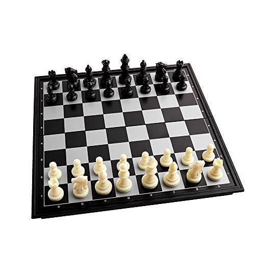 Magnetic Travel Chess Set(10inch X 10inch) Folding Chess Set for Adults and Kids Game Chess Board Set Gift for Chess Lovers and Beginners Black and White  32pcs