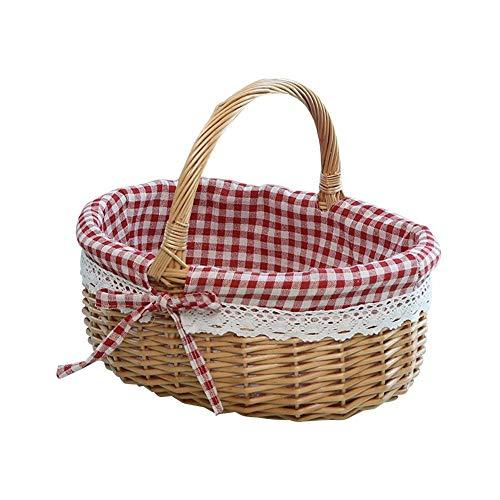 LeKing Wicker Picnic Basket With Lids, Oval Rattan Basket With Handle,Burlap Storage Basket Family Camping Picnic Basket Organizer Home Decor