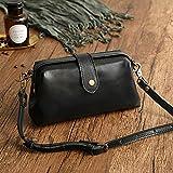 Raining Premium Leather Retro Handmade Bag,Vintage Leather Purse Crossbody Shoulder Satchel Bag Messenger Bag Doctor Bag (Black)
