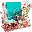 Rose Gold Desk Organiser with Drawer, Multi-Use Metal Desktop Organizer, Office Organiser for Office Desk (Include 72pcs Metal Clips)