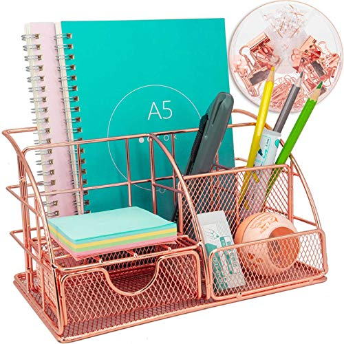Organizador de escritorio multiusos con cajón, metal oro rosa, para oficina (incluye 72 clips de metal)