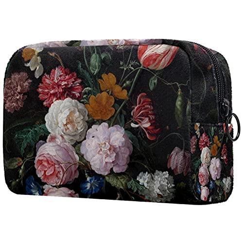 Große Kosmetiktasche Reise Make-up Tasche Kulturbeutel für Frauen Tragbare tägliche Lagerung Organizer Münz Geldbörse Halter Reißverschluss Verschluss Mehrfarbiges Blumenarrangement