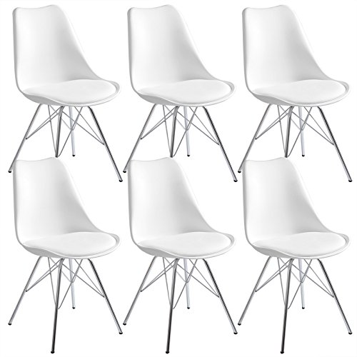 eSituro SDC0050-6 6 x Esszimmerstühle Polsterstuhl Küchenstuhl 6er Set Wohnzimmerstuhl, Sitzfläche aus Kunstleder, mit Metallbeine und Rückenlehne, Weiss