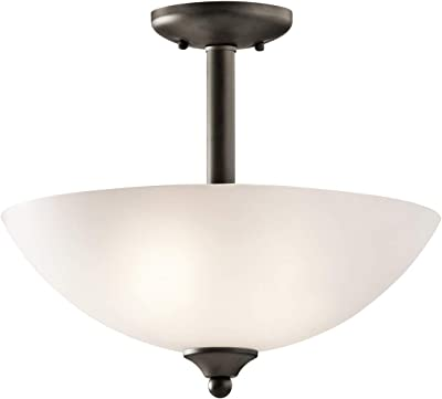 Forte Lighting 2193-02-32 Semi Flush Mount with Shaded Umber Glass Shades Antique Bronze