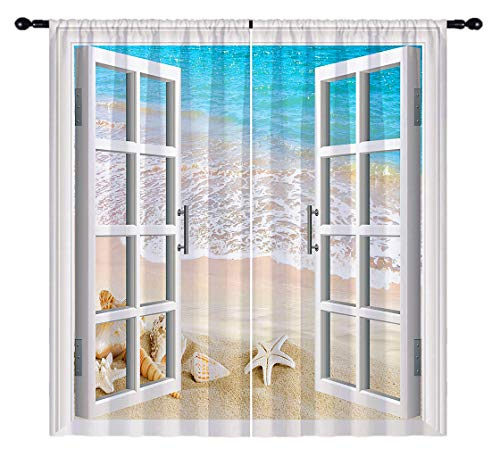 ANHOPE Beach Blackout Curtains, Open Windows with Tropical Sea Shell Starfish Conch Landscape 3D Pattern, Rod Pocket Room Darkening Window Drapes for Living Room Bedroom, 2 Panels, 55 X 63 Inch