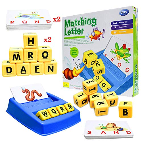 Matching Letter Games, Spelling Games, Flash Cards, Best Gift Educational Toys for Kids,Develops Vocabulary and Spelling Skills Toys for Kids Toddlers (D)