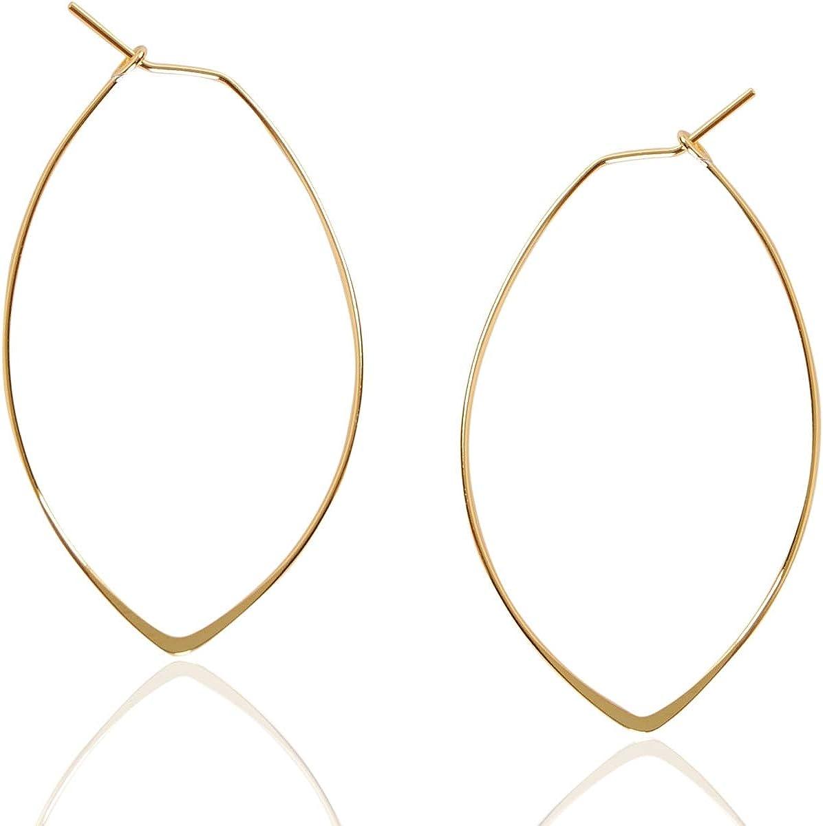 Humble Chic Marquise Threader Big Hoop Earrings - Lightweight Ov