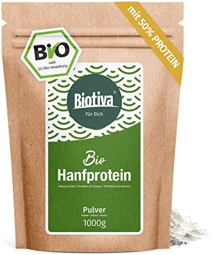 Protéine de chanvre de 50% Bio (1 kg) - poudre de protéine 1000g - végétarien - 50% de protéines - exemptes de gluten, de soja et lactose - rempli et contrôlée en Allemagne (DE-ECO-005)