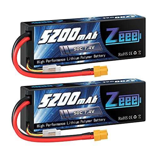 Zeee 2S Lipo Battery 7.4V 5200mAh 50C Battery with XT60 Plug Hard Case for 1/8 1/10 RC Vehicles Car Slash RC Buggy Truggy RC Airplane(2 Pack)