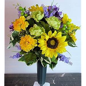 Spring Cemetery Flowers, Cemetery Vase with Sunflowers and Purple Hydrangeas