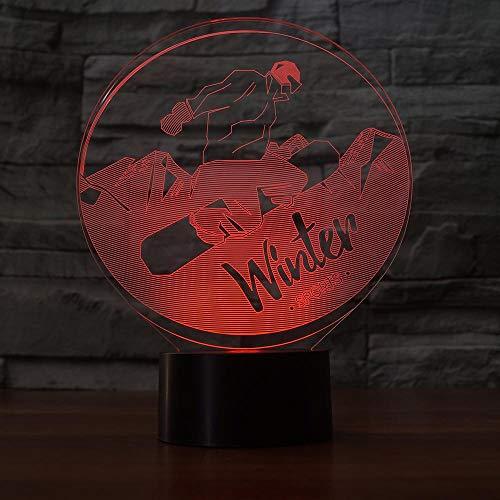 Mzdpp 7 Farben Ändern Led 3D Snowboard Nachtlicht Tischlampe Usb Schlafzimmer Winter Sport Leuchte Wohnkultur Geschenke