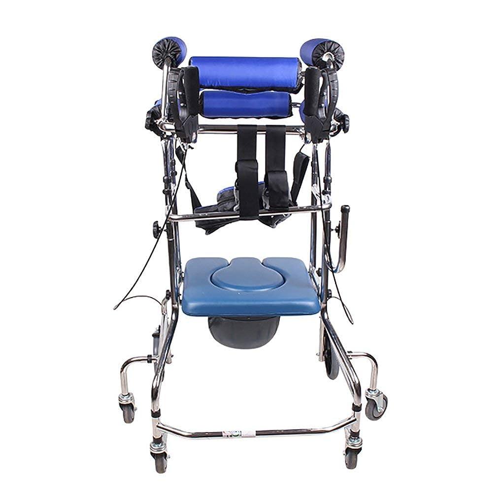 酸化する一緒にマウンドスタンディングウォーキングラック/ウォーカー/身体障害者用手すり車椅子立ちベッド青6ラウンドハンドブレーキプラスフットブレーキトイレに追加