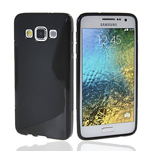NAUC Schutzhülle für Samsung Galaxy E5 Tasche TPU Hülle Cover Schutz Hülle Handy Kappe, Farben:Schwarz