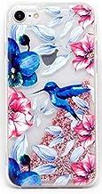 Coovertify Funda Rosa Agua Colibri Pajaro Azul Samsung J5 2017, Carcasa con Glitter Purpurina Brillante escarchada TPU Silicona con liquido Interior para Samsung Galaxy J5 2017 (J530)