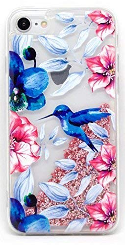 Coovertify Funda Rosa Agua Colibri Pajaro Azul Samsung J7 2017, Carcasa con Glitter Purpurina Brillante escarchada TPU Silicona con liquido Interior para Samsung Galaxy J7 2017 (J730)