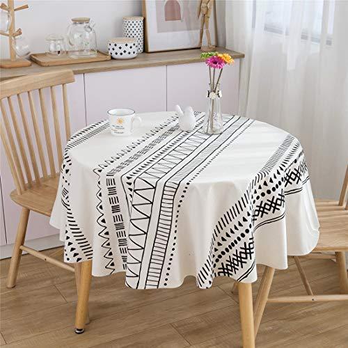 Xlabor Mantel redondo de algodón y lino, de fácil cuidado, para jardín, habitación, decoración de mesa, color negro, diámetro 150 cm