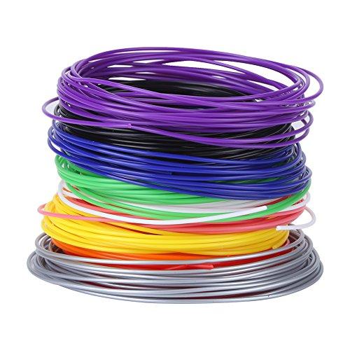 PCL Lot de 10 recharges de filament pour imprimante 3D basse température pour enfants 1,75 mm 5 m de chaque couleur