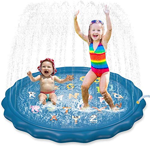Jasonwell Sprinkler for Kids Toddlers Splash Pad Play Mat 60' Inflatable Baby Wading Pool Fun Summer Outdoor Water Toys for Children Boys Girls Sprinkler Pool for Alphabet Learning Age 1 2 3 4 5 6 7 8