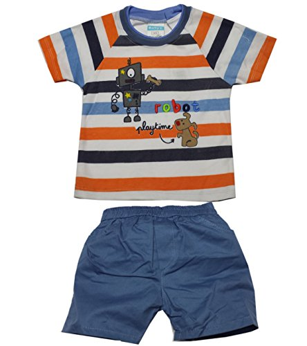 Baby C C Robot bébé Enfants rayé Imprimer Shirt et Short Set âge 18-24 Mois