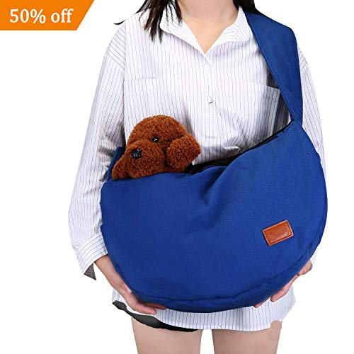 Pettom Dog Carrier Sling Bag Pet Cat Wrap Satchel Hands Free Adjustable Kitten Pouch Pet Papoose Swaddle Bag for Outdoor Travel-Blue