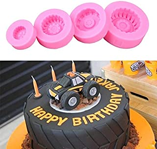Silicone Mold Tool 4pcs/set Food Grade Tires Wheel Chocolate Cake Molds Car Tyre Shape Fondant Cake Decorating Tools