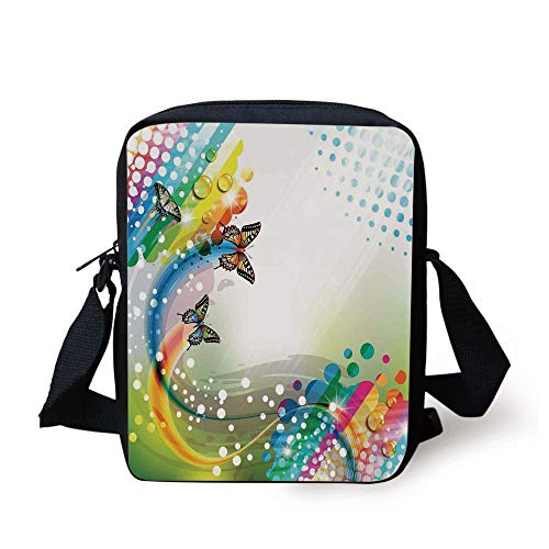 FAFANIQ Colorful Home Decor,Trippy Flying Butterflies with Color Comet Bubbles Creative Fantasy Design,Multi Print Kids Crossbody Messenger Bag Purse