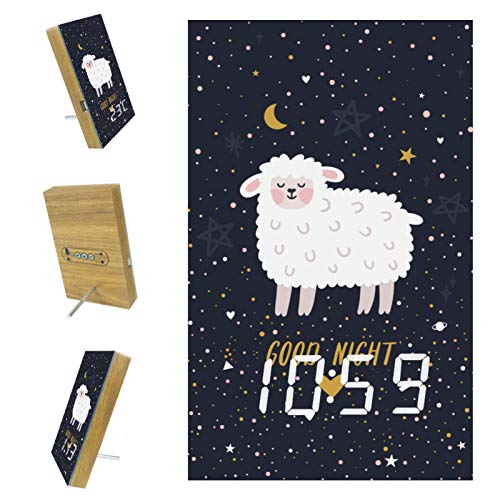 Despertador para niños Galaxia Oveja Reloj Despertador Digital Control Automático por Voz Gran Pantalla Led Reloj para Niños Dormitorio Infantil 10x16x2.4cm