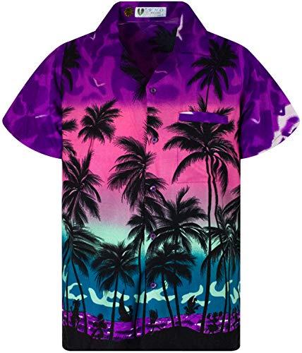 V.H.O. Funky Hawaiian Blouse Shirt, Shortsleeve, Beach, Eclectic Purple, XS