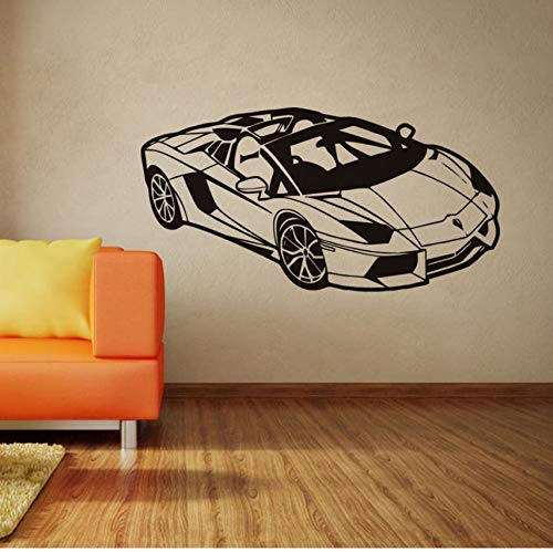 Kids Room Wall Decals Fashion Sport Racing Car Wall Sticker Vinyl Car Poster Home Bedroom Decor Car Race Club Wall Mural 57X29Cm