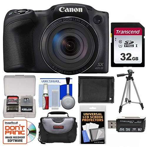Canon PowerShot SX420 is Wi-Fi Digital Camera (Black) with 32GB Card + Case + Battery + Tripod + Kit (Renewed)