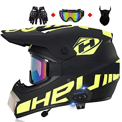XFXDBT Casco de motocicleta Bluetooth, para hombre y mujer, casco completo, aprobado por DOT/ECE, casco Motocrosshelme casco Offroad Dirt Racing ATV moto ciclomotor off road Crash Cross Downhill