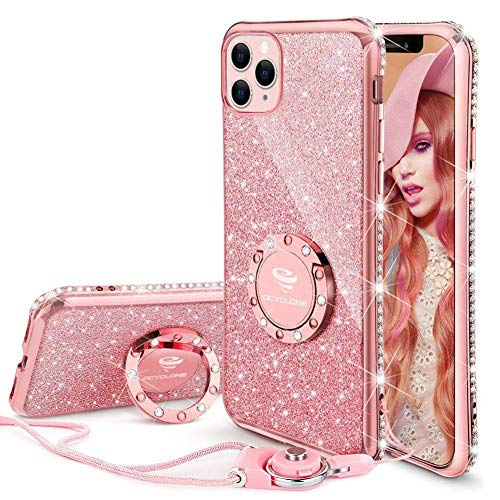 OCYCLONE iPhone 11 Pro Max Case, Cute Glitter Sparkle Bling Diamond Rhinestone Bumper with Ring Kickstand Women Girls Soft Pink Protective Phone Case for iPhone 11 Pro Max [6.5 inch] 2019 - Rose Gold