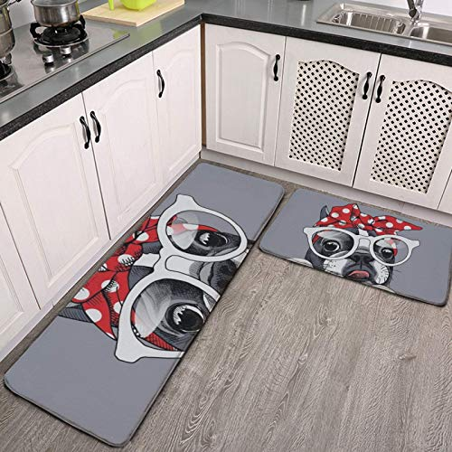 MGVDSES Kitchen Mat Cushioned Anti Fatigue 2 Piece Set Cute Dog French Bulldog Knot Bow Kitchen Floor Mats Rug Carpet Non Skid Hallway Runner Rugs Long Standing Desk Mat Pad Sink Accessories