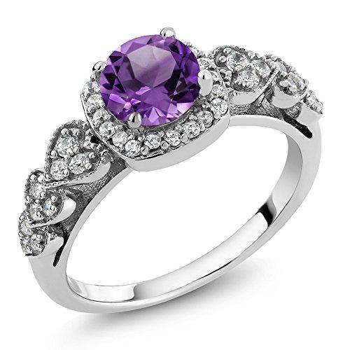 Gem Stone King 925 Sterling Silver Purple Amethyst Gemstone Birthstone Women's Ring 1.02 Ct (Size 5)