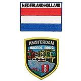 Paquete de 2 piezas A-ONE - Parche de bandera de los Países Bajos Amsterdam Magere Burg + parche de bandera de Holanda