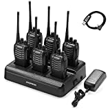 6pcs BAOFENG BF-888S Walkie Talkie for Adults, Long Range Two Way Radio, 1500mAh 16 CH, 6 Radios 6 Earpieces 1 Six-way Charger 1 Cable