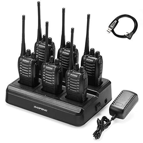 6pcs BAOFENG BF-888S Walkie Talkie for Adults, Long Range Two Way Radio, 1500mAh 16 CH UHF, 6 Radios and 1 Six Way Charger Indiana