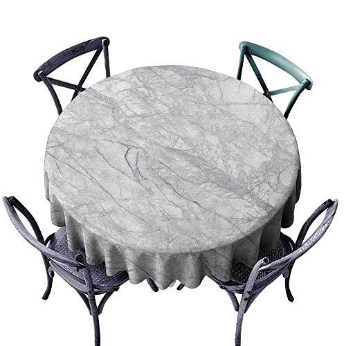 ScottDecor - Mantel Redondo de marmol para picnics al Aire Libre, diseno Abstracto de Madera de Avellana con Textura Natural, Color Gris y Blanco
