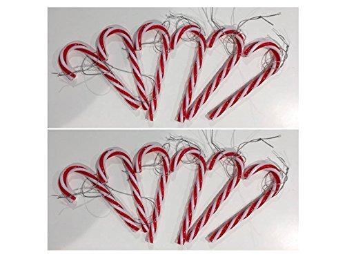 Baumschmuck Set 12-tlg. Zuckerstangen Hänger Kunststoff 13 cm rot weiß