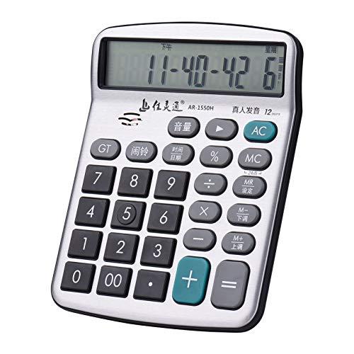 Calcolatrice da tavolo,Fesjoy Calcolatrice musicale da tavolo a 12 cifre Ampio display LCD Funzione standard Calcolatrice elettronica con musica Funzione di riproduzione del pianoforte Ora Data